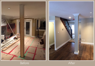Dressed up structural post in living room