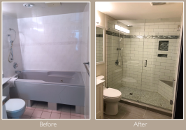Bringing this bathroom into the 21st century, with WEDI board, 2 recessed niches, and a benchseat with Schluter®-KERDI-SHOWER pan.