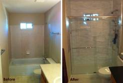 Before and After Bathroom Renovation from Surrey BC General Contractor.