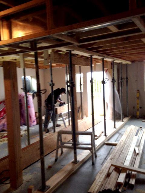Basement Structural Beam Installation
