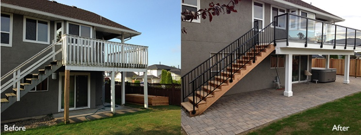 New deck, stair and stone patio