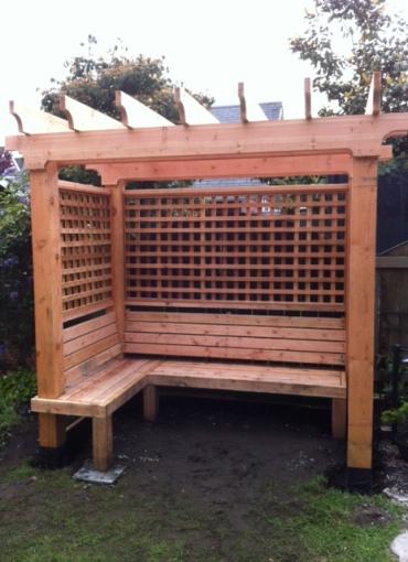 Cedar bench with pergola