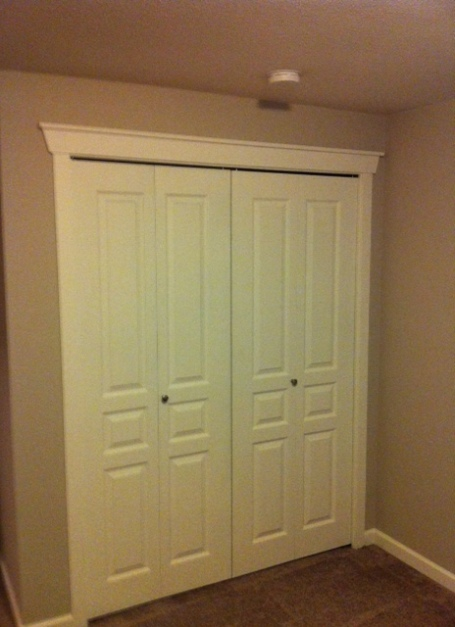 Double door closet with trim