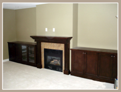 Custom mantle and cabinetry