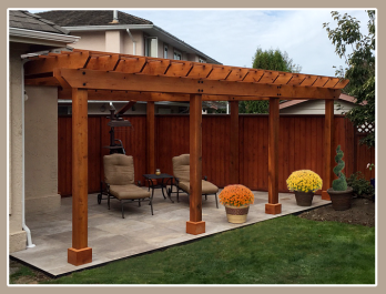 A new pergola creates a backyard focal point and a comfortable space to relax