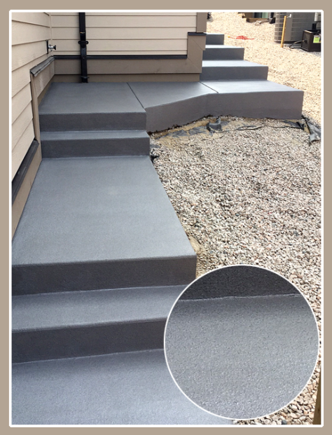 Exterior concrete stairs painted with Granite Grip. Increases durability and adds a non-slip surface.
