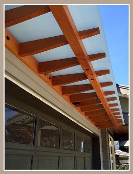 Garage Awning stained fir laminated glass