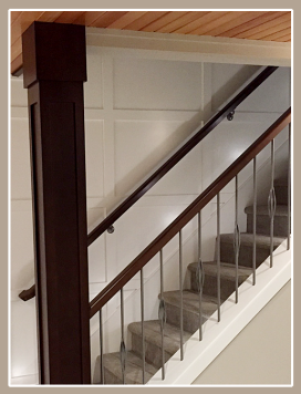 MDF feature wall structural post stained maple handrail decorative pewter Iron spindles