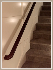 MDF feature wall, stained maple handrail