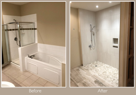 Large accessible shower with clearance entry.